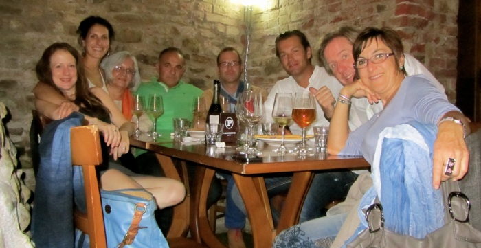 One crazy group! At Vincafe in Alba.