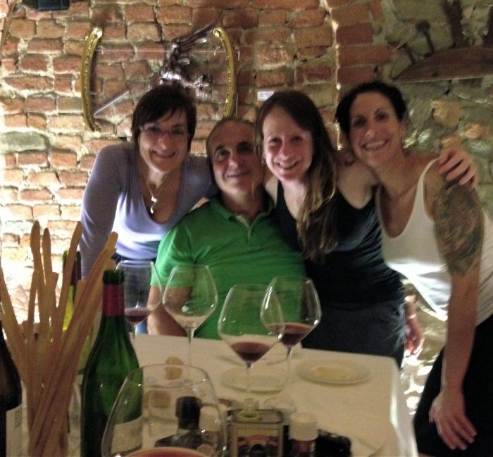Liliana, Renato, me, and Jordana at Enoclub in Alba.
