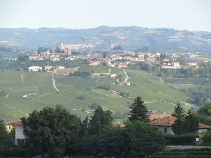 Castiglione Falletto and Serralunga d'Alba, as seen from the terrace of Renato Corino in Annunziata