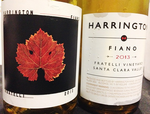 The front of the 2012 Fiano bottle, and the back of the 2013.