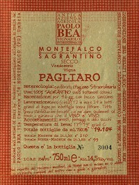 Paolo Bea Sagrantino label
