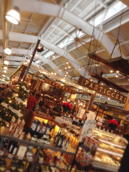 The Oxbow Market in the afternoon, Napa. A great place to run into friends! And buy Italian truffle oil!!! December 14, 2014.