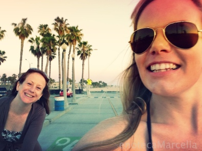 My sister and me, riding along the beach in Santa Monica.
