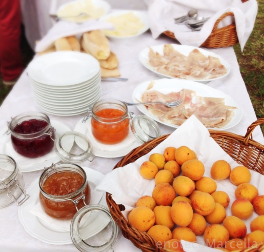 Typical snacks from Collio ... fresh apricots, cooked prosciutto with horseradish, etc.